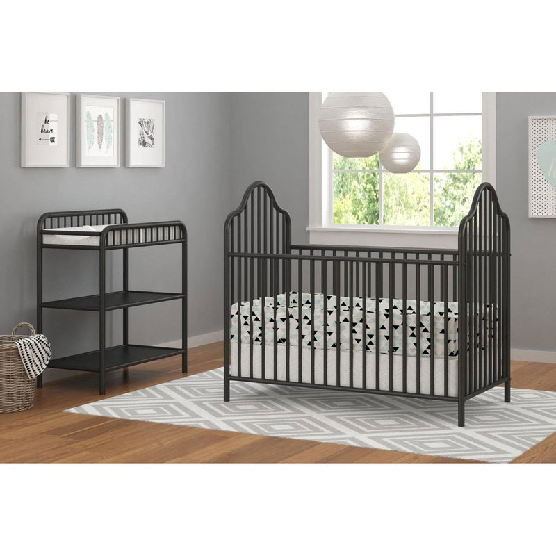 Little Seeds Rowan Valley Lanley Metal Crib and Changing Table Set, Black