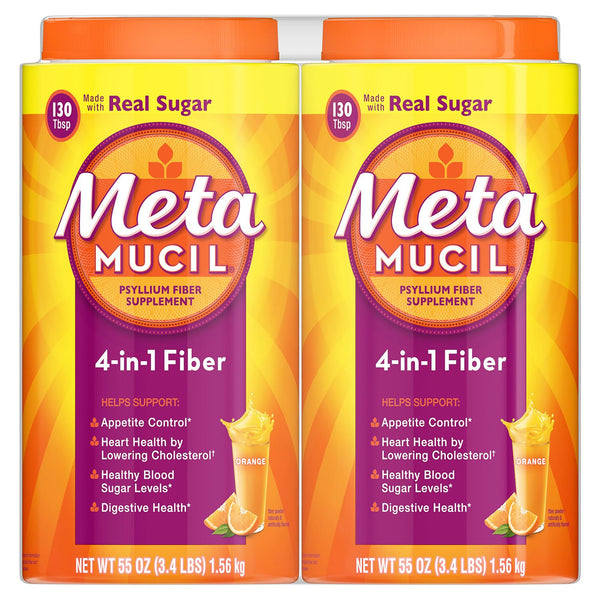 Metamucil Fiber, 4-in-1 Psyllium Fiber Supplement Powder with Real Sugar, Orange Smooth Flavored Drink, 260 Servings
