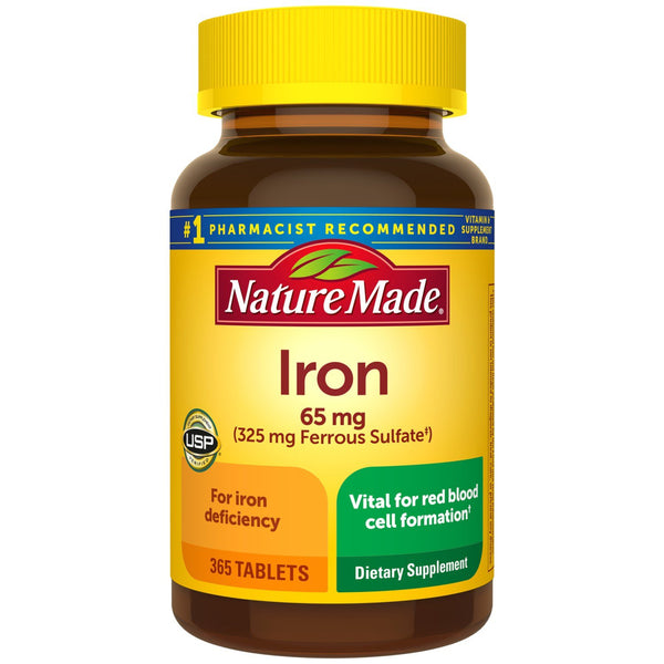 Nature Made Iron 65 mg (from Ferrous Sulfate) Tablets for Red Blood Cell Formation (365 ct.)