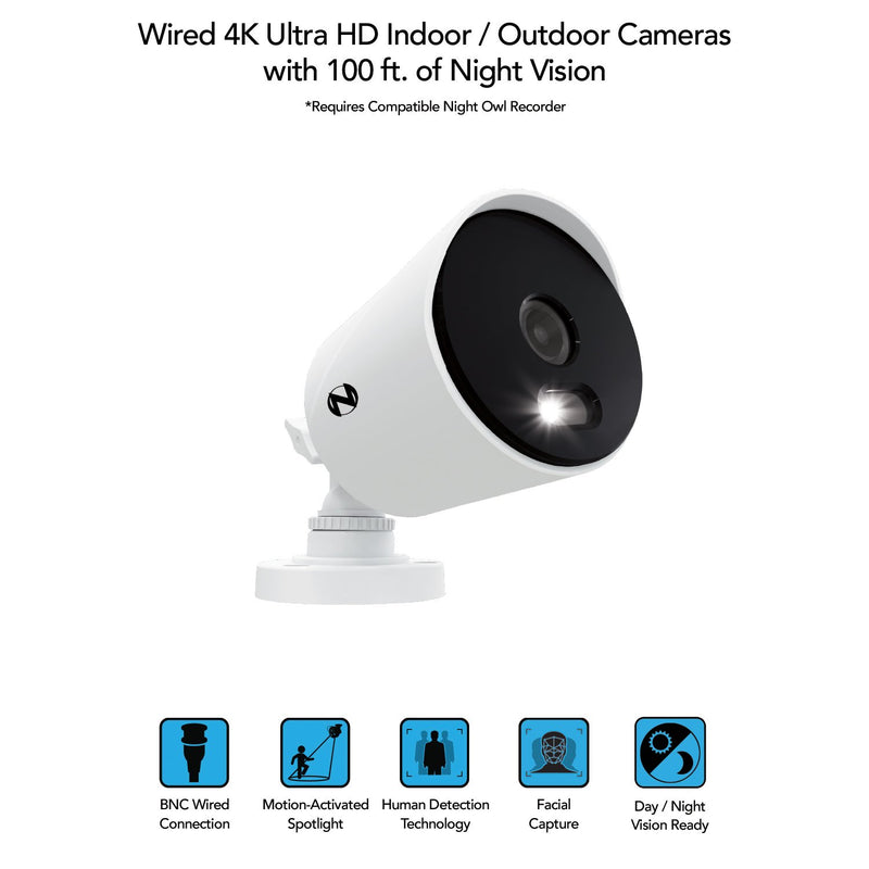Night Owl 4K Ultra HD Wired Cameras with Built-In Spotlights (2-Pack)