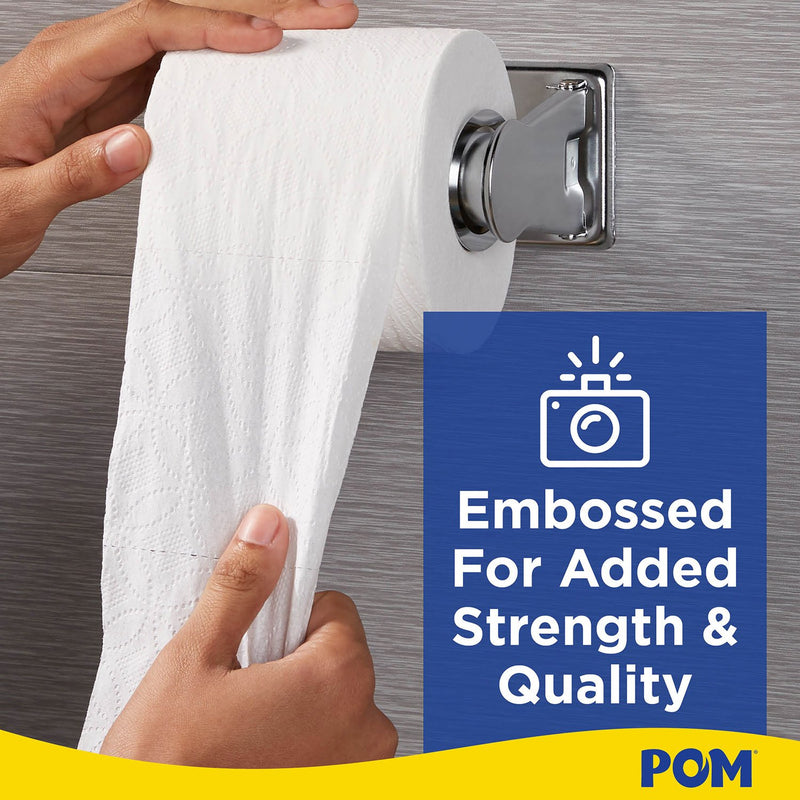 POM™ Embossed 2-Ply Toilet Paper, White, 45 Rolls, 473 Sheets/Roll