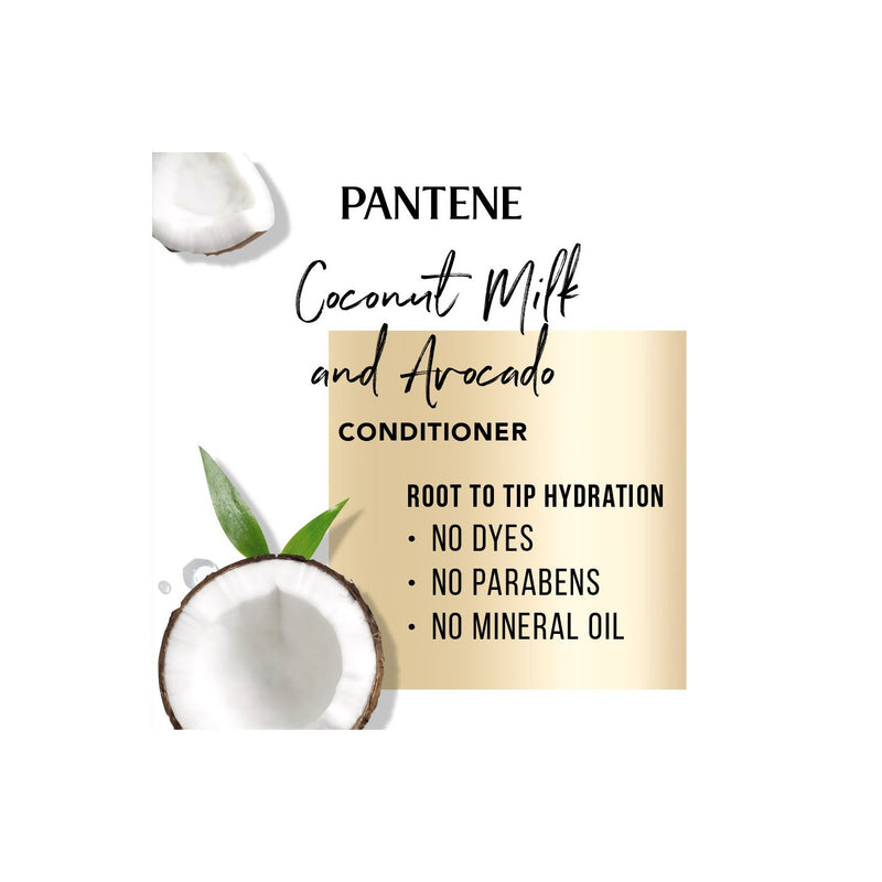 Pantene Pro-V Paraben Free, Dye Free, Mineral Oil Free Coconut Milk and Avocado Moisturizing Conditioner for Dry Hair (38.2 fl. oz.)