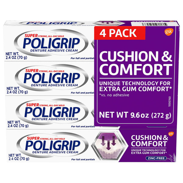 Poligrip Cushion and Comfort, Denture Fixative Cream (2.4 oz., 4 pk.)