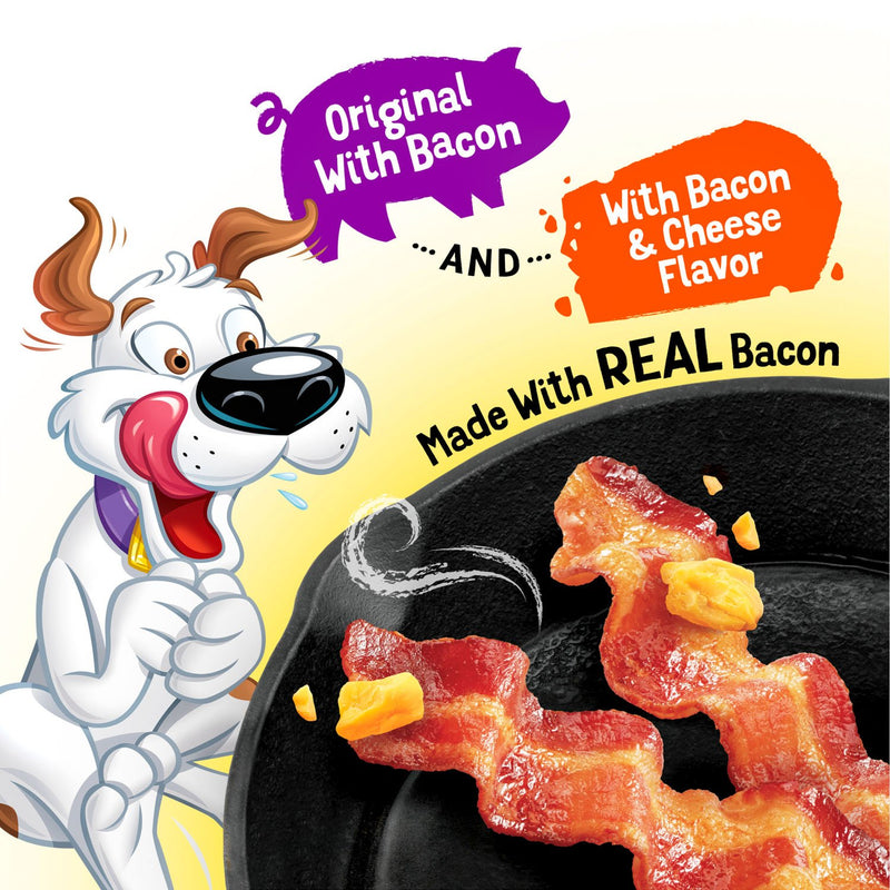Purina Beggin' Strips Real Meat Dog Treats Variety Pack, Bacon With Bacon and Cheese Flavors - (2) 32 oz. Pouches