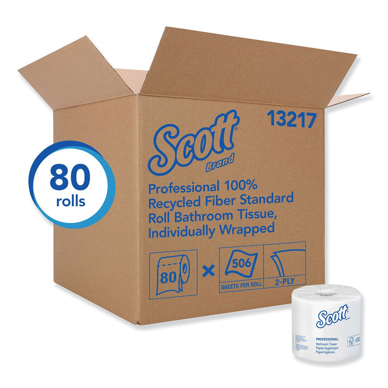 Scott 100% Recycled Fiber Bathroom Tissue, 2-Ply, 506 Sheets/Roll - 80/Carton
