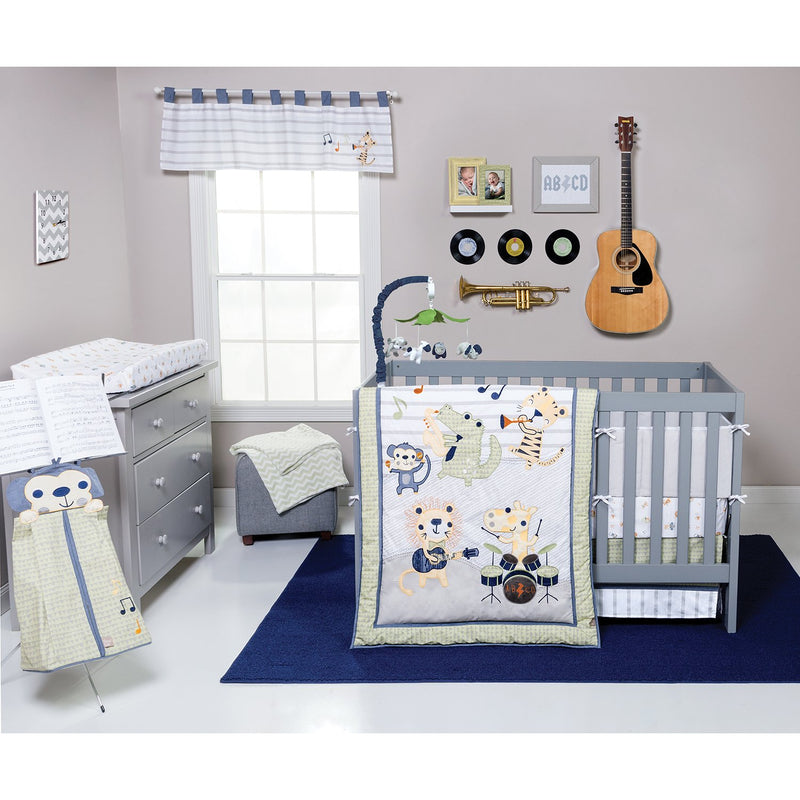 Trend Lab 6-Piece Crib Bedding Set, Safari Rock Band