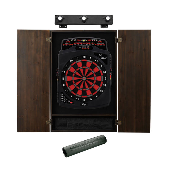 Viper Solar Blast Electronic Dartboard, Metropolitan Espresso Cabinet, Dart Mat and Shadow Buster Dartboard Light Bundle