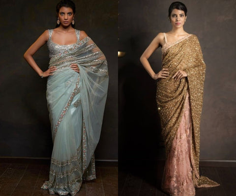 net saree for wedding reception party