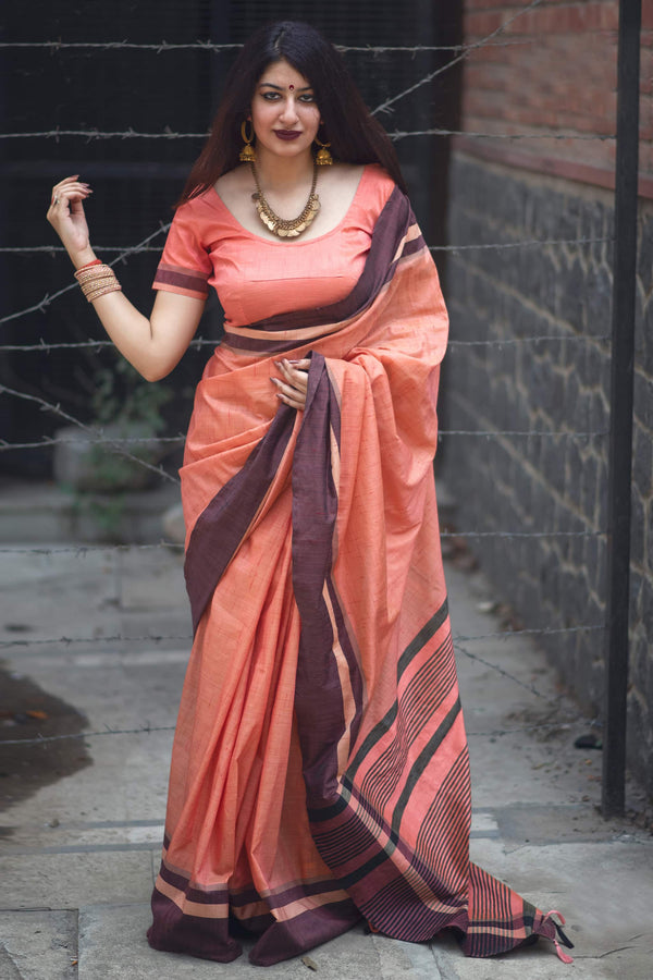 Peach Cotton Silk Saree - Lotus Vol 10 by Manjubaa