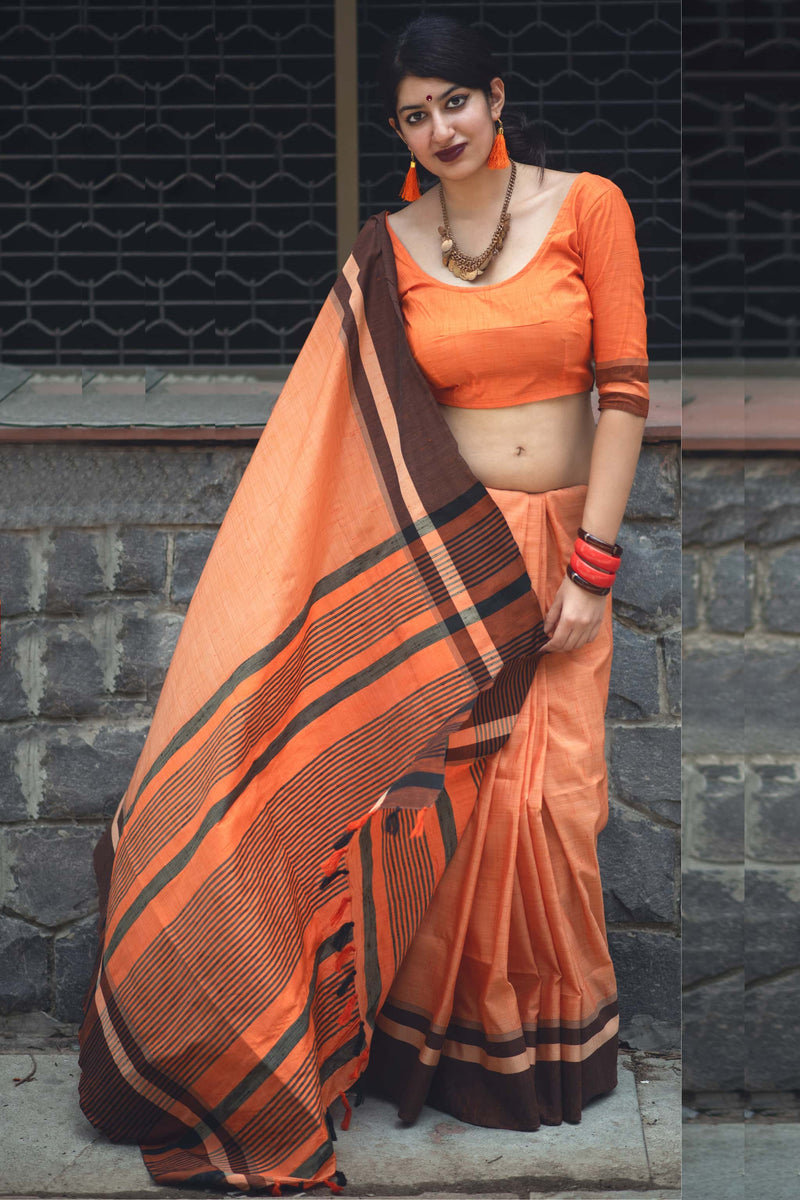 Orange Cotton Silk Saree - Lotus Vol 10 by Manjubaa