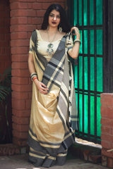 Off White Cotton Silk Saree - Lotus Vol 10 by Manjubaa