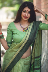 Light Green Cotton Silk Saree - Lotus Vol 10 by Manjubaa