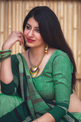 Green Cotton Silk Saree - Lotus Vol 10 by Manjubaa