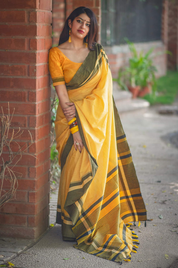 Yellow Cotton Silk Saree - Lotus Vol 10 by Manjubaa
