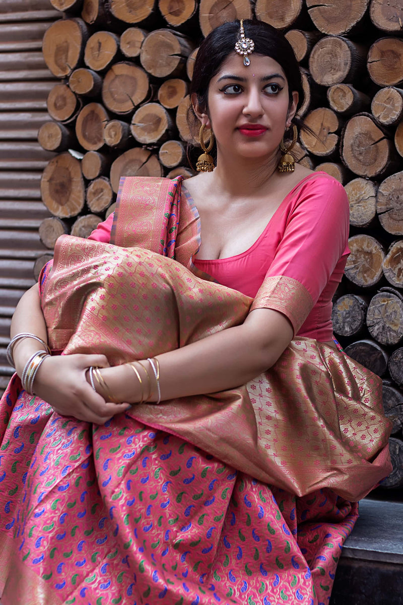 Pink Banarasi Silk Saree - Lotus Vol 11 by Manjubaa