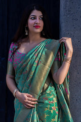 Cyan Green Banarasi Silk Saree - Lotus Vol 11 by Manjubaa