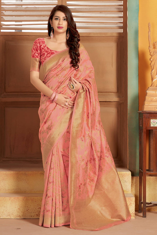 Peach Banarasi Silk Saree - Lotus Vol 11 by Manjubaa