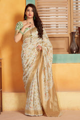 White Banarasi Silk Saree - Lotus Vol 11 by Manjubaa