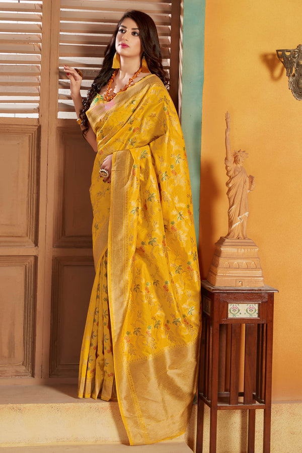 Yellow Banarasi Silk Saree - Lotus Vol 11 by Manjubaa