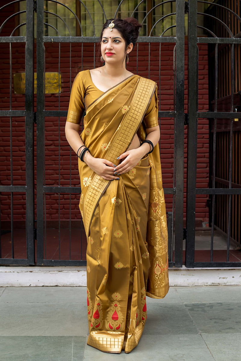 Mustard Banarasi Silk Saree - Lotus Vol 11 by Manjubaa