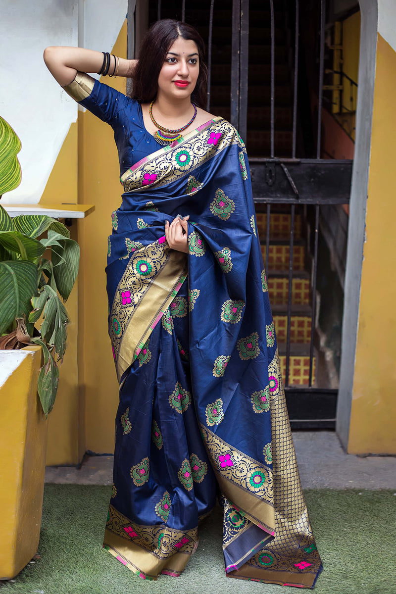 Navy Blue Banarasi Silk Saree - Lotus Vol 11 by Manjubaa