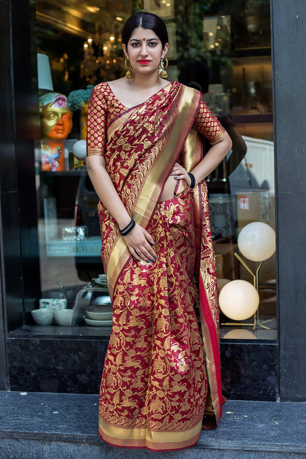 Maroon Banarasi Silk Saree - Lotus Vol 11 by Manjubaa