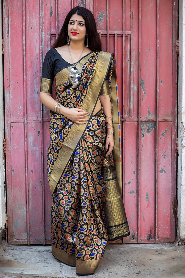Black Banarasi Silk Saree - Lotus Vol 11 by Manjubaa