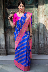Sky Blue Banarasi Silk Saree - Lotus Vol 11 by Manjubaa