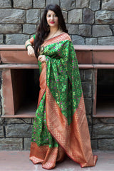 Green Banarasi Silk Saree - Maheswari Silk by Manjubaa