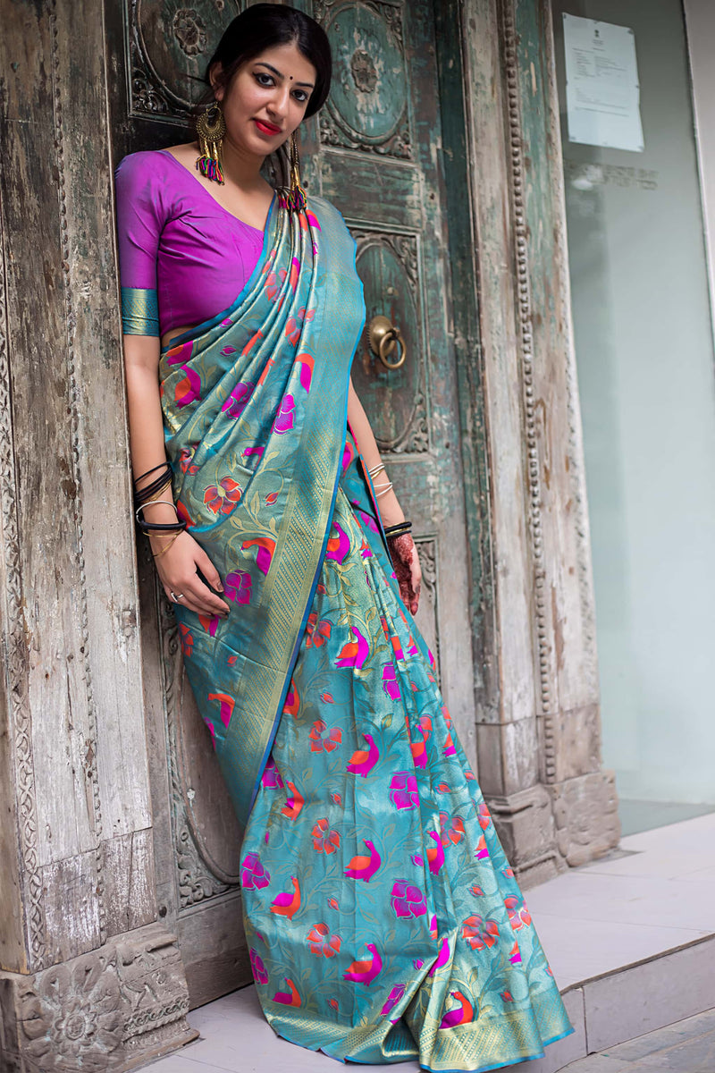 Firozi And Gold Zari Woven Kanjivaram Silk Saree - Moukthika Silk by Manjubaa