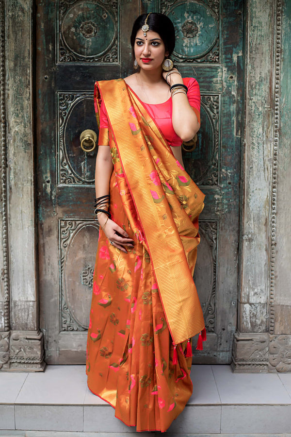 Rich Gold Zari Woven Kanjivaram Silk Saree - Moukthika Silk by Manjubaa
