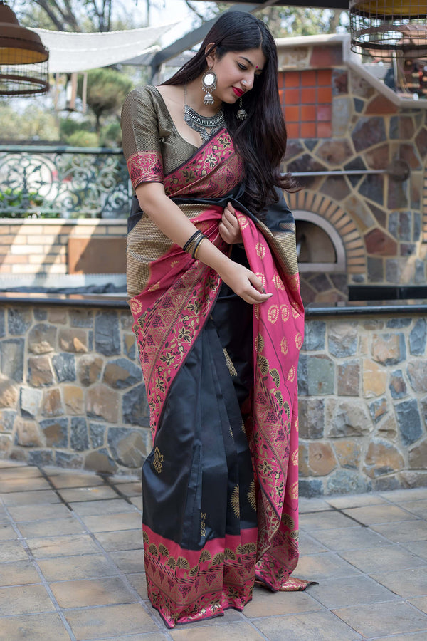 Black And Pink Banarasi Silk Saree - Midhusha Silk by Manjubaa