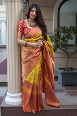 Mustard And Red Banarasi Silk Saree - Midhusha Silk by Manjubaa