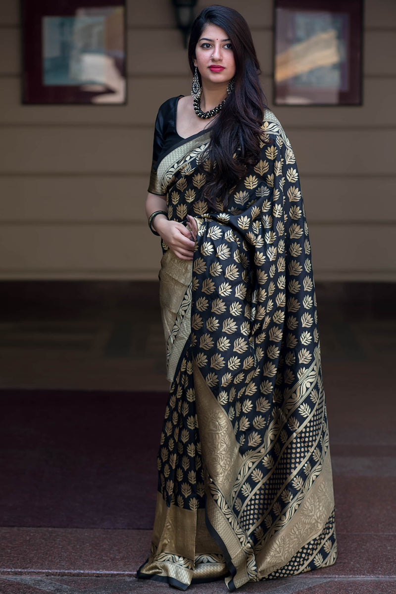 Black Banarasi Silk Saree - Midhusha Silk by Manjubaa