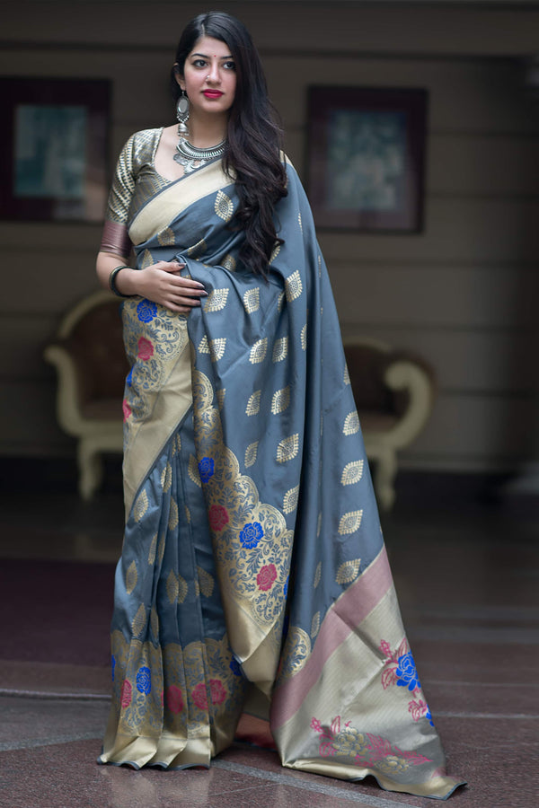 Steel Grey Banarasi Silk Saree - Midhusha Silk by Manjubaa