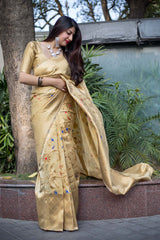 Cream Banarasi Silk Saree - Midhusha Silk by Manjubaa
