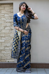 Blue Banarasi Silk Saree - Midhusha Silk by Manjubaa
