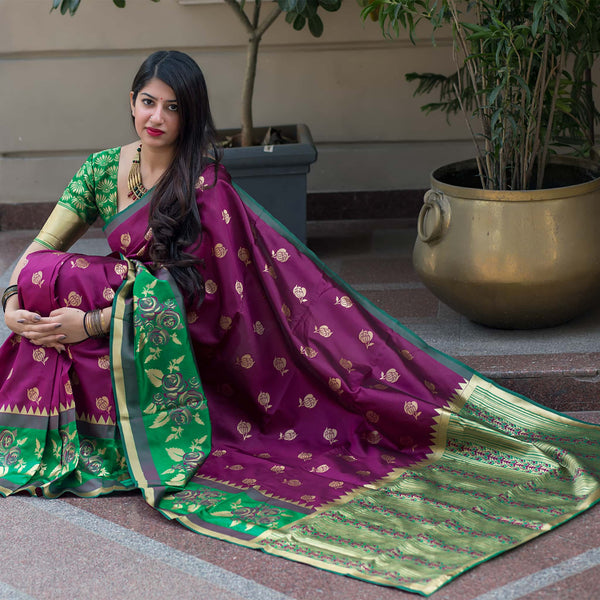 Wine And Green Banarasi Silk Saree - Midhusha Silk by Manjubaa
