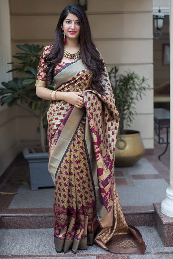 Wine And Gold Banarasi Silk Saree - Mannat Silk by Manjubaa