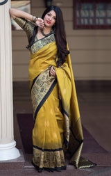 Mustard And Black Banarasi Silk Saree - Mannat Silk by Manjubaa