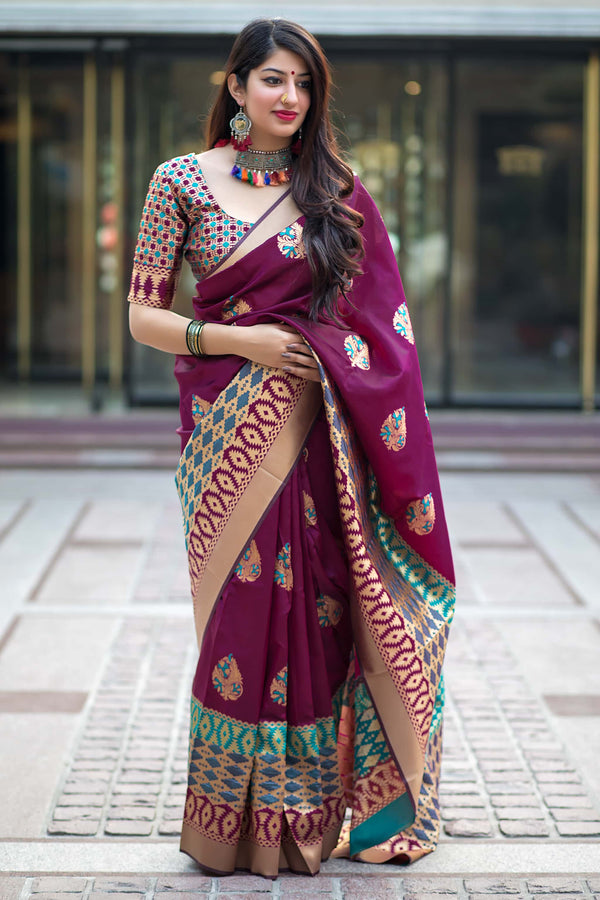 Dark Magenta Banarasi Silk Saree - Mannat Silk by Manjubaa
