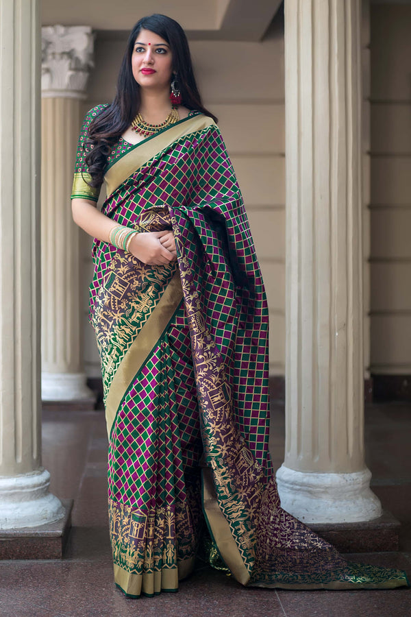 Maroon And Green Banarasi Silk Saree - Mannat Silk by Manjubaa