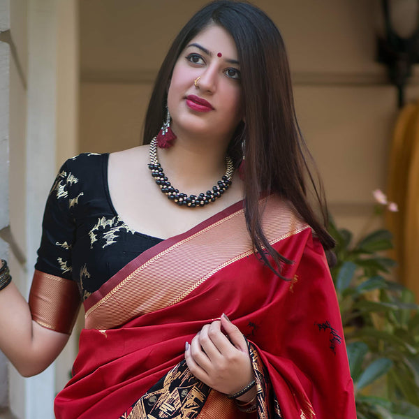 Red And Black Banarasi Silk Saree - Mannat Silk by Manjubaa