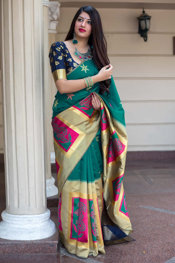 Cyan Green Banarasi Silk Saree - Mannat Silk by Manjubaa