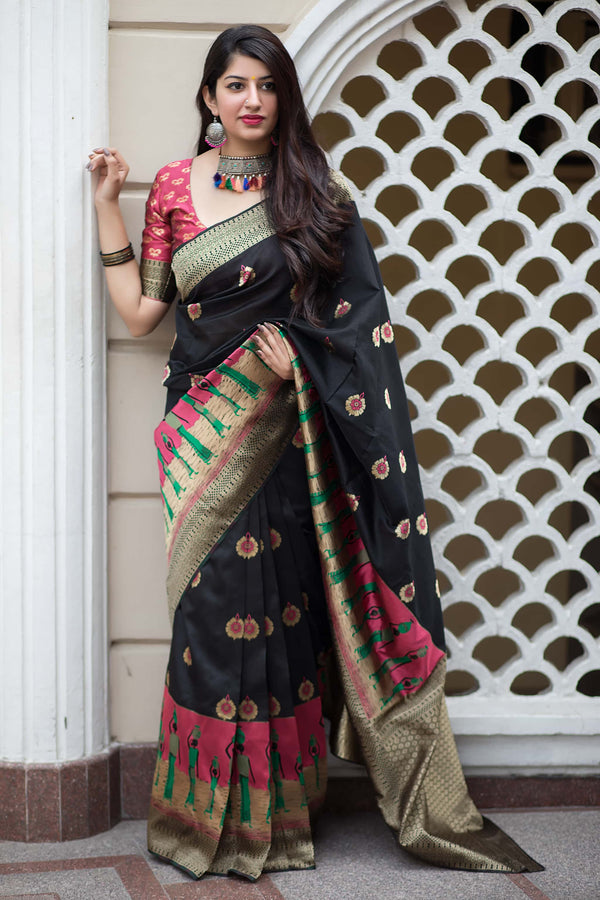 Black And Pink Banarasi Silk Saree - Mannat Silk by Manjubaa