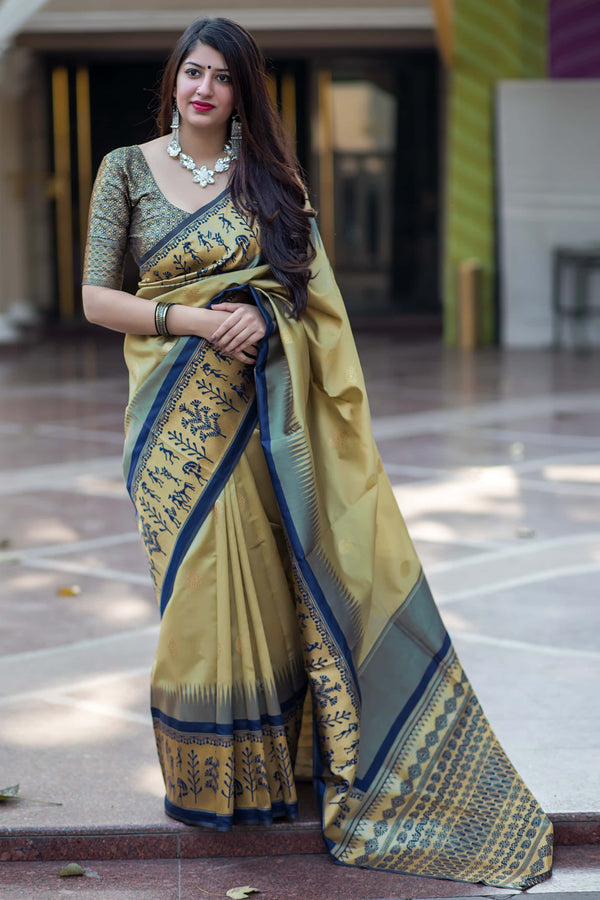 Olive Green Banarasi Silk Saree - Mannat Silk by Manjubaa