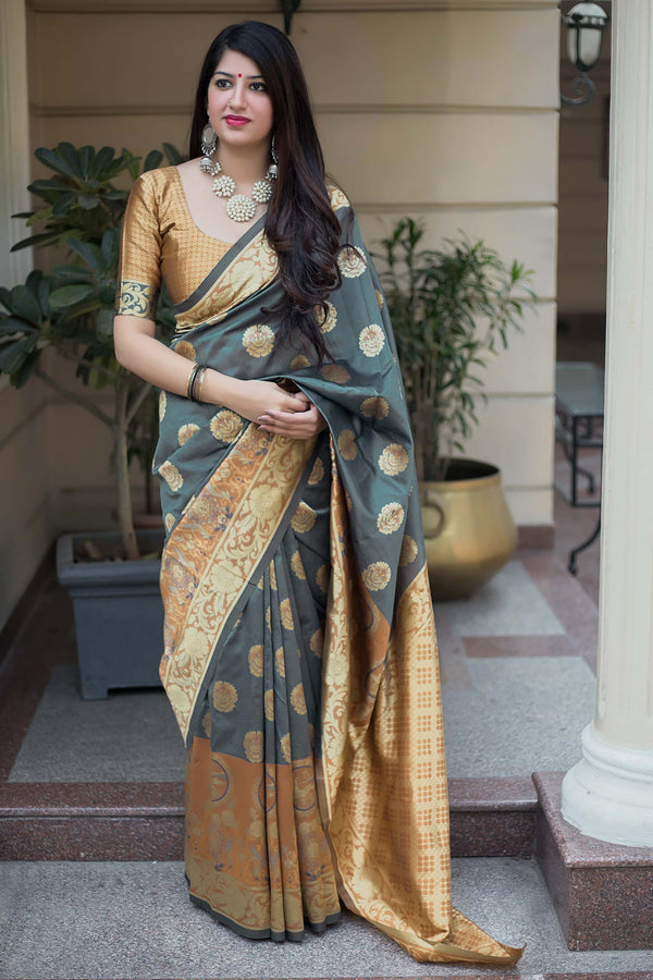 Steel Grey and Mustard Banarasi Silk Saree - Mannat Silk by Manjubaa