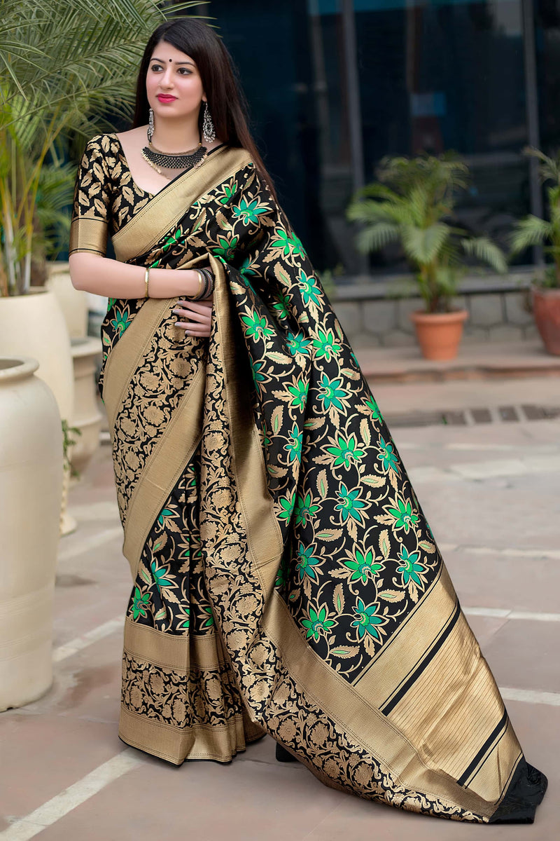 Black Banarasi Silk Saree - Mahakanta Silk by Manjubaa
