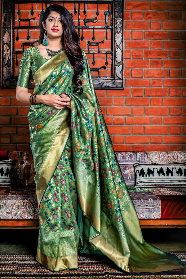 Green Banarasi Silk Saree - Meher Silk by Manjubaa