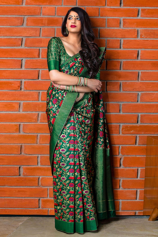 Bottle Green Banarasi Silk Saree - Meher Silk by Manjubaa